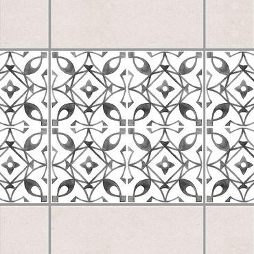 Fliesen Bordüre - Grau Weiß Muster Serie No.8 - 15cm x 15cm Fliesensticker Set