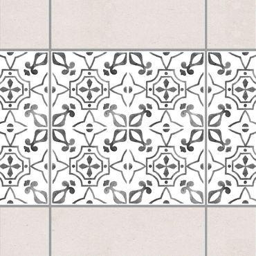 Fliesen Bordüre - Grau Weiß Muster Serie No.9 - 15cm x 15cm Fliesensticker Set