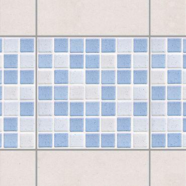 Fliesen Bordüre - Mosaikfliesen Hellblau 15x15cm - Fliesensticker Set