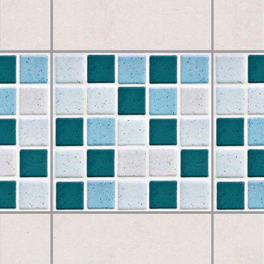 Fliesen Bordüre - Mosaikfliesen Türkis Blau 10x10 cm - Fliesensticker Set