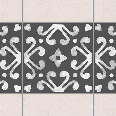 Fliesen Bordüre - Muster Dunkelgrau Weiß Serie No.07 - 10cm x 10cm Fliesensticker Set
