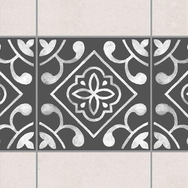 Fliesen Bordüre - Muster Dunkelgrau Weiß Serie No.02 - 15cm x 15cm Fliesensticker Set