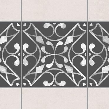 Fliesen Bordüre - Muster Dunkelgrau Weiß Serie No.03 - 15cm x 15cm Fliesensticker Set