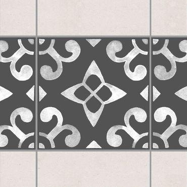 Fliesen Bordüre - Muster Dunkelgrau Weiß Serie No.05 - 15cm x 15cm Fliesensticker Set