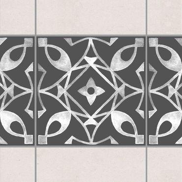 Fliesen Bordüre - Muster Dunkelgrau Weiß Serie No.08 - 15cm x 15cm Fliesensticker Set