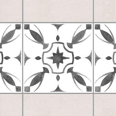 Fliesen Bordüre - Muster Grau Weiß Serie No.1 - 15cm x 15cm Fliesensticker Set
