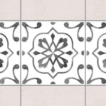 Fliesen Bordüre - Muster Grau Weiß Serie No.4 - 15cm x 15cm Fliesensticker Set