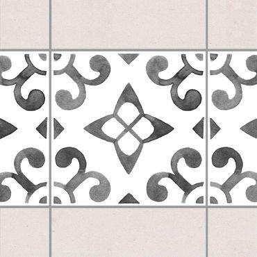 Fliesen Bordüre - Muster Grau Weiß Serie No.5 - 15cm x 15cm Fliesensticker Set