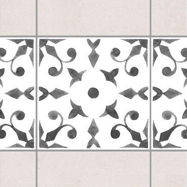 Fliesen Bordüre - Muster Grau Weiß Serie No.6 - 15cm x 15cm Fliesensticker Set