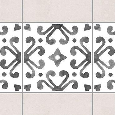 Fliesen Bordüre - Muster Grau Weiß Serie No.7 - 15cm x 15cm Fliesensticker Set
