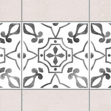 Fliesen Bordüre - Muster Grau Weiß Serie No.9 - 15cm x 15cm Fliesensticker Set