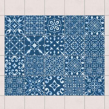 Fliesenaufkleber - Muster Mix Dunkelblau Weiß
