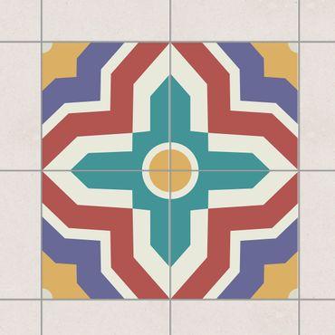 Fliesenaufkleber - 4 Marokkanische Fliesen Kreuzmuster