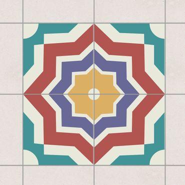 Fliesenaufkleber - 4 Marokkanische Fliesen Sternmuster