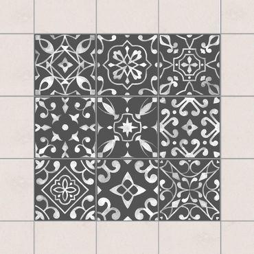 Fliesenaufkleber - Muster Dunkelgrau Weiß Serie