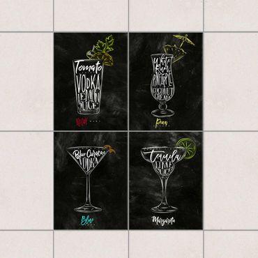 Fliesenaufkleber - Cocktails Kreidetafel