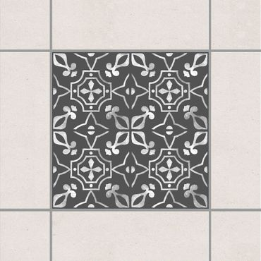 Fliesenaufkleber - Dunkelgrau Weiß Muster Serie No.01