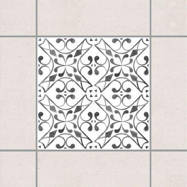 Fliesenaufkleber - Grau Weiß Muster Serie No.3
