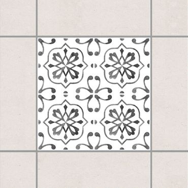 Fliesenaufkleber - Grau Weiß Muster Serie No.4