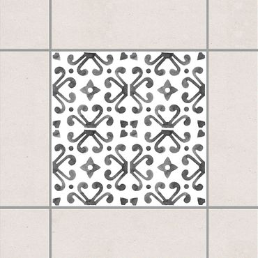 Fliesenaufkleber - Grau Weiß Muster Serie No.7