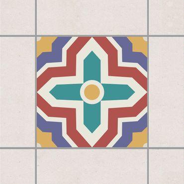 Fliesenaufkleber - Marokkanische Fliese Kreuzmuster Bunt