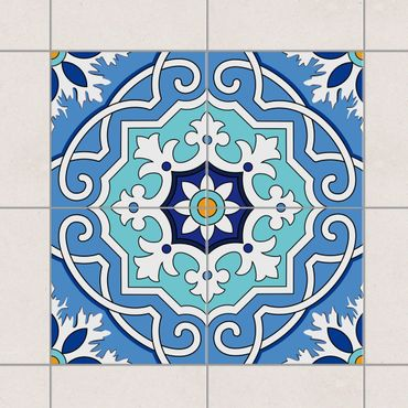 Fliesenaufkleber - Mediterraner Fliesenspiegel blau
