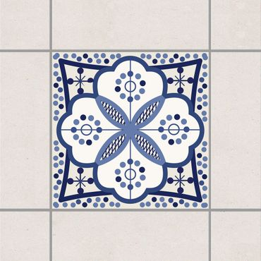 Fliesenaufkleber - Mediterranes Fliesenornament Blau Weiss