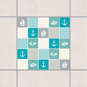 Fliesenaufkleber - No.YK68 Maritim Türkis Blau Grau