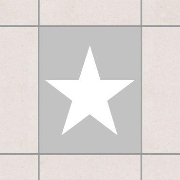 Fliesenaufkleber - Große weiße Sterne auf grau Grau