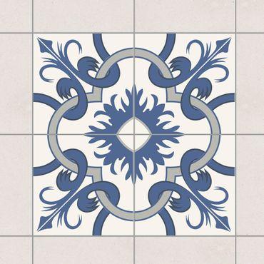 Fliesenaufkleber - Spanischer Fliesenspiegel - 4 Fliesen crème blau