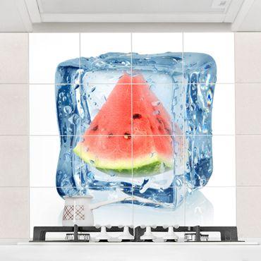 Fliesenbild - Melone im Eiswürfel