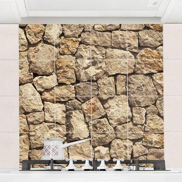Fliesenbild - Alte Wand aus Pflasterstein
