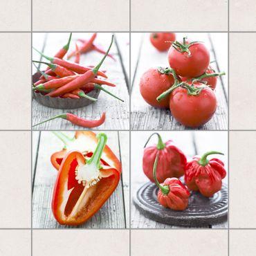 Fliesenaufkleber - Rotes Gemüse