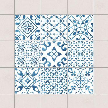 Fliesenaufkleber - Blau Weiß Muster Mix