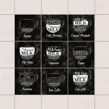 Fliesenaufkleber - Kaffeesorten Kreidetafel