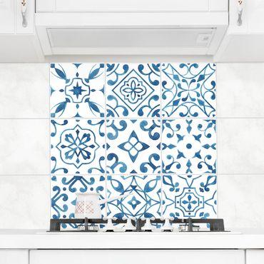 Fliesenaufkleber - Muster Blau Weiß Set