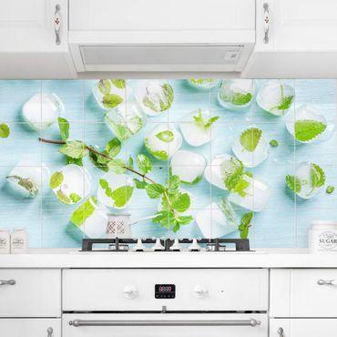Fliesenbild - Eiswürfel mit Minzblätter