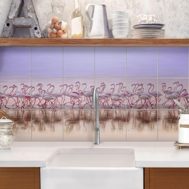 Fliesenbild - Flamingo Party - Fliesensticker Set Querformat