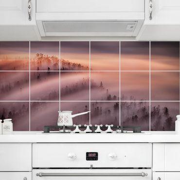 Fliesenbild - Nebelflut - Fliesensticker Set Querformat