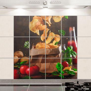 Fliesenbild - Tomate-Basilikum-Snack