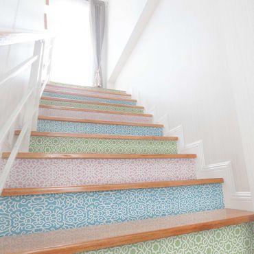 Folie für Möbel Set - 3 Arabische Muster in Pastelltönen - Rosé Mint Pastellblau