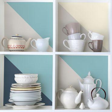 Folie für Möbel - Wohnfarben Set Lagune - Kaschmir Meersand Pastelltürkis Schieferblau