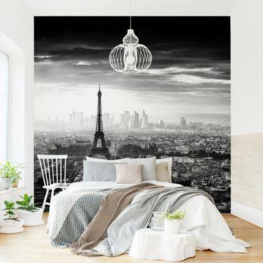 Fototapete - Der Eiffelturm von Oben Schwarz-weiß