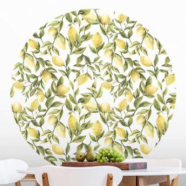 Runde Tapete selbstklebend - Fruchtige Zitronen mit Blättern