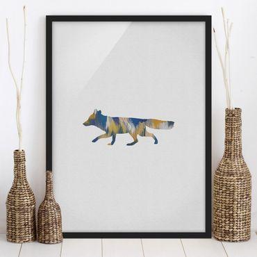 Bild mit Rahmen - Fuchs in Blau und Gelb - Hochformat