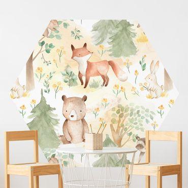 Hexagon Mustertapete selbstklebend - Fuchs und Hase mit Bäumen