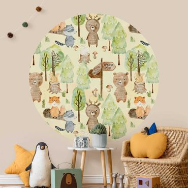 Runde Tapete selbstklebend - Fuchs Wald-Abenteuer Illustration