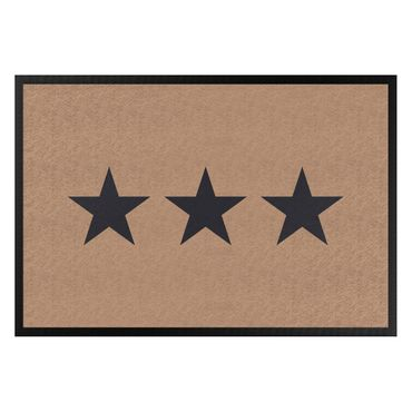 Fußmatte - Drei Sterne khaki dunkelgrau