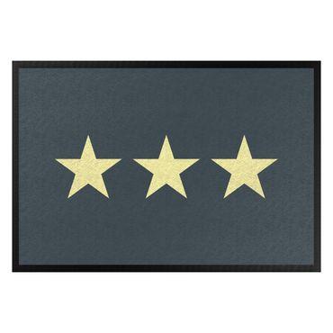 Fußmatte - Drei Sterne petrol gelb