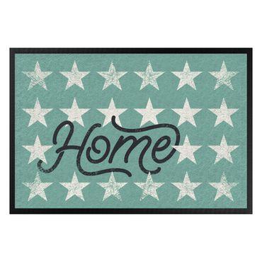 Fußmatte - Home Sterne türkis